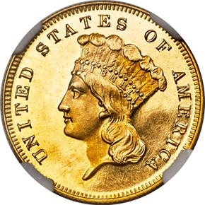 1873 OPEN 3 $3 PF obverse