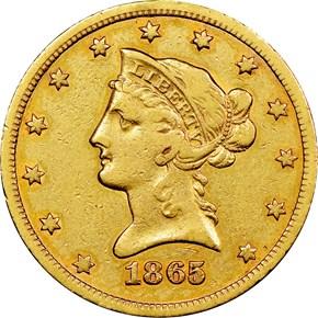1865 S $10 MS obverse