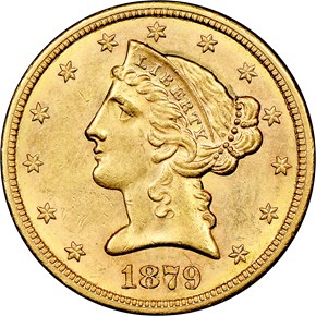 1879 S $5 MS obverse