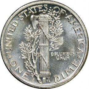 1943 S 10C MS reverse
