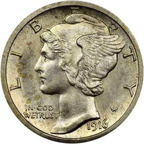 1916 S MERCURY 10C MS obverse