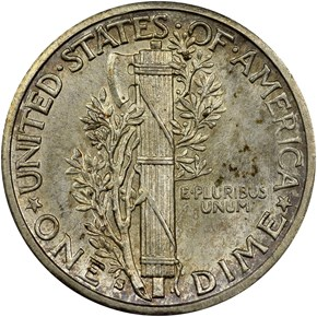 1916 S MERCURY 10C MS reverse