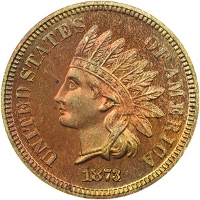1873 CLOSED 3 1C PF obverse