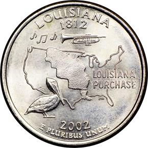 2002 P LOUISIANA 25C MS obverse
