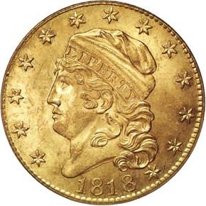 1818 5D/50 BD-3 $5 MS obverse