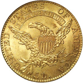 1818 5D/50 BD-3 $5 MS reverse
