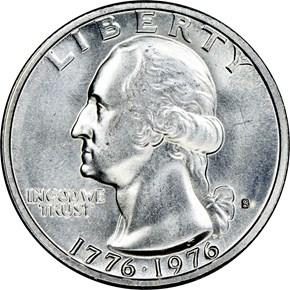 1776-1976 S SILVER 25C MS obverse
