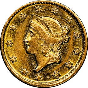 1851 D G$1 MS obverse