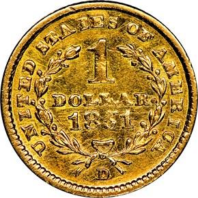 1851 D G$1 MS reverse