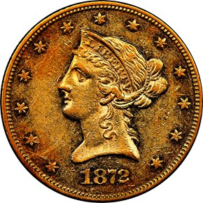 1872 $10 MS obverse