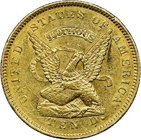 "1853 ""900"" U.S. ASSAY OFFICE $10 MS obverse"