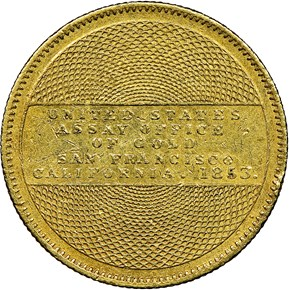"""1853 """"900"""" U.S. ASSAY OFFICE $10 MS reverse"""
