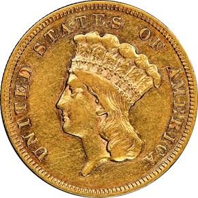 1860 S $3 MS obverse