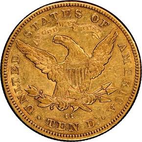 1878 CC $10 MS reverse