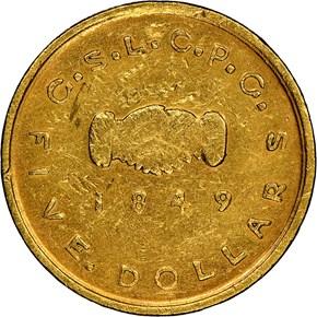 1849 MORMON $5 MS reverse