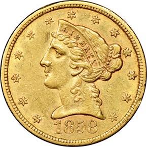 1858 S $5 MS obverse