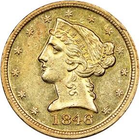 1846 D $5 MS obverse