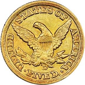 1849 D $5 MS reverse