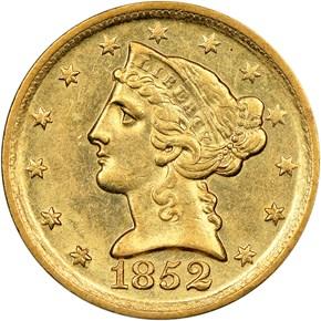 1852 D $5 MS obverse