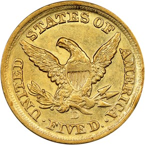 1852 D $5 MS reverse