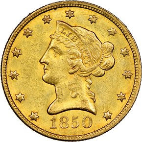 1850 LARGE DATE $10 MS obverse