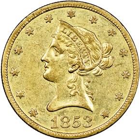 1853 O $10 MS obverse
