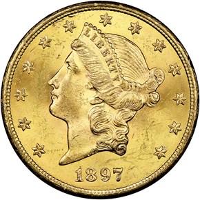1897 S $20 MS obverse