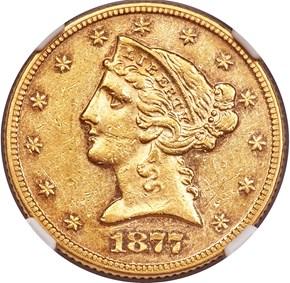 1877 $5 MS obverse