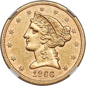 1866 MOTTO $5 MS obverse