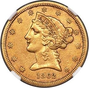 1862 $5 MS obverse