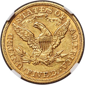 1869 $5 MS reverse