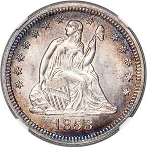 1853/53 NO ARROWS 25C MS obverse