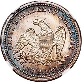 1853/53 NO ARROWS 25C MS reverse