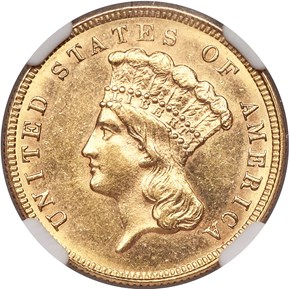 1884 $3 MS obverse