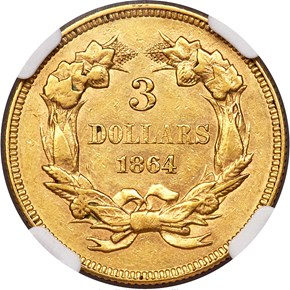 1864 $3 MS reverse