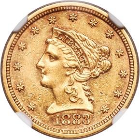1883 $2.5 MS obverse