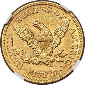 1864 $5 MS reverse