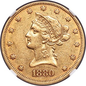 1880 O $10 MS obverse