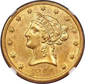 1854 O SMALL DATE $10 MS obverse
