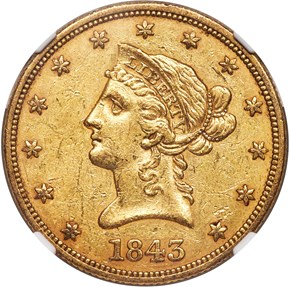 1843 $10 MS obverse