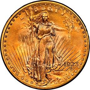 1923 D $20 MS obverse