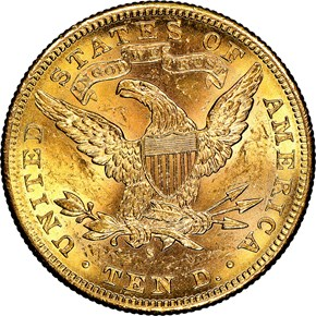 1885 S $10 MS reverse