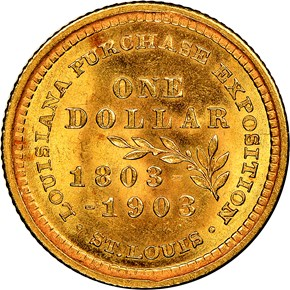 1903 MCKINLEY LOUISIANA PURCHASE G$1 MS reverse
