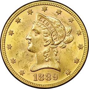 1889 S $10 MS obverse