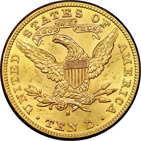 1889 S $10 MS reverse