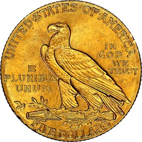 1908 INDIAN $5 MS reverse