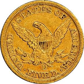 1846 D $5 MS reverse