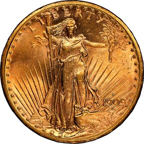 1909 S $20 MS obverse