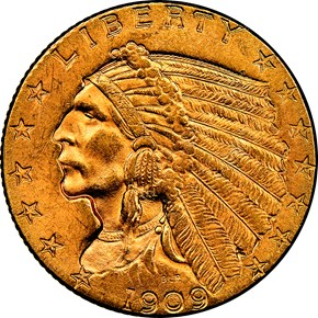 1909 $2.5 MS obverse