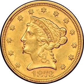 1873 CLOSED 3 $2.5 MS obverse